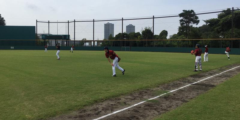 古曽部防災公園野球場で練習試合