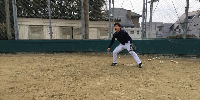 ファーストの捕球練習